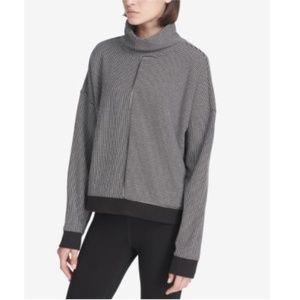 DKNY MockNeck Long Sleeves Stripe Top Black